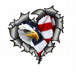 Ripped Torn Metal Heart Carbon Fibre with American Bald Eagle Motif  External Car Sticker 105x100mm